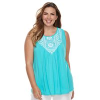 Plus Size Croft & Barrow® Embroidered-Bib Tank
