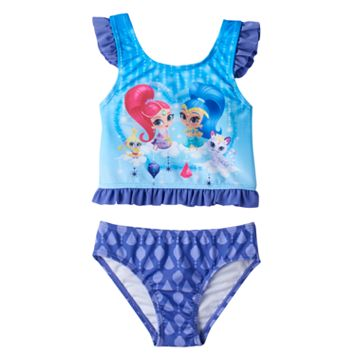 Toddler Girl Shimmer & Shine Ruffle Tankini Top & Swimsuit Bottoms Set