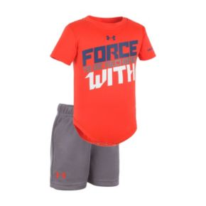 "Baby Boy Under Armour ""Force To Be Reckoned With"" Graphic Bodysuit & Mesh Shorts Set"