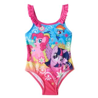 Toddler Girl My Little Pony Pinkie Pie, Twilight Sparkle & Rainbow Dash Ruffle One-Piece Swimsuit