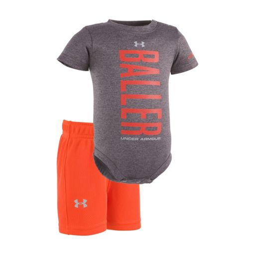 "Baby Boy Under Armour ""Baller"" Bodysuit & Mesh Shorts Set"