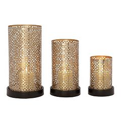 Modern Reflections Perforated Candle Holders 3-piece Set