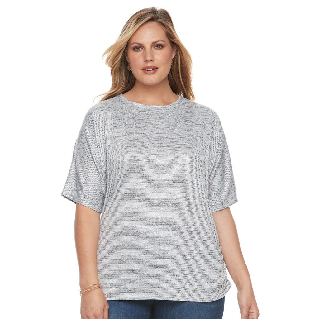 Plus Size Croft & Barrow® Dolman Ruched Top