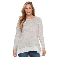 Plus Size Croft & Barrow® Striped Mock-Layer Sweater