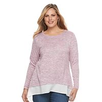 Plus Size Croft & Barrow® Striped Mock-Layer Sweater