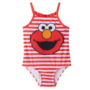 Toddler Girl Elmo Ruffle Striped One-Piece Swimsuit