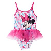 Disney's Minnie Mouse Toddler Girl Tutu Polka-Dot One-Piece Swimsuit