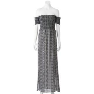 Juniors' Trixxi Smocked Off The Shoulder Maxi Dress