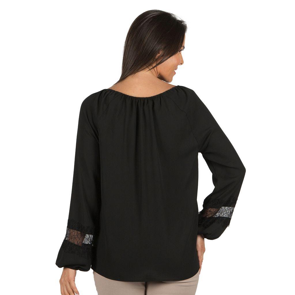 Women's Harve Benard Lace-Trim Peasant Top