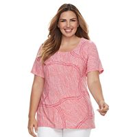 Plus Size Croft & Barrow® Scoopneck Jacquard Top