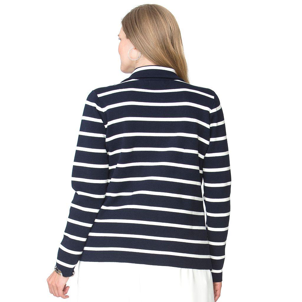 Plus Size Chaps Asymmetrical Moto Sweater