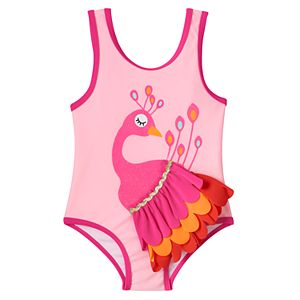 Baby Girl Candlesticks Peacock One-Piece Swimsuit