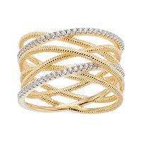 14k Gold Over Silver Intertwined Coil ring