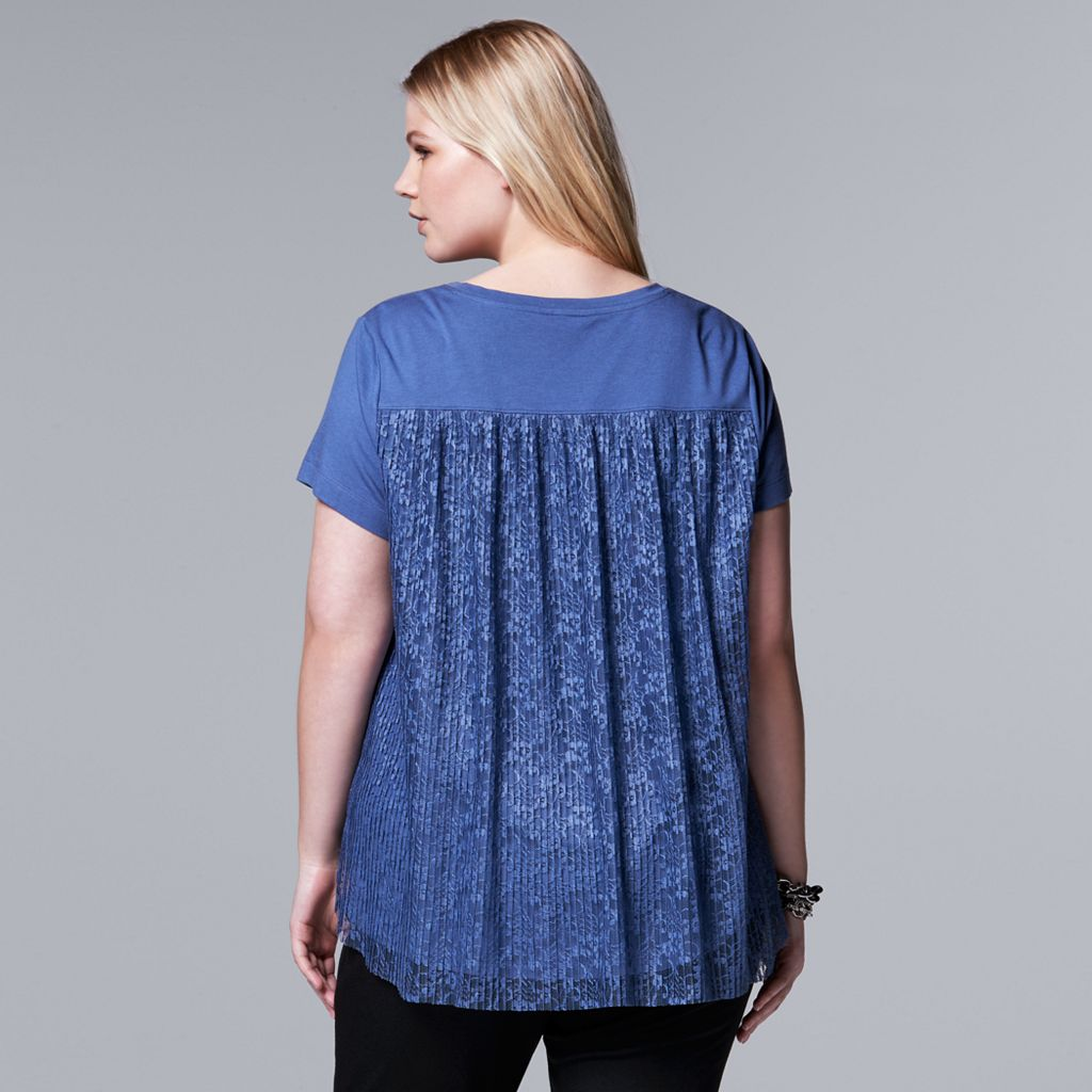 Plus Size Simply Vera Vera Wang Pleated Lace-Back Top