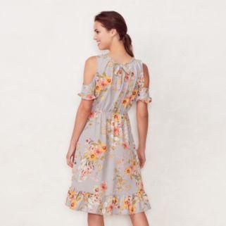 Women's LC Lauren Conrad Cold-Shoulder Ruffle Midi Dress