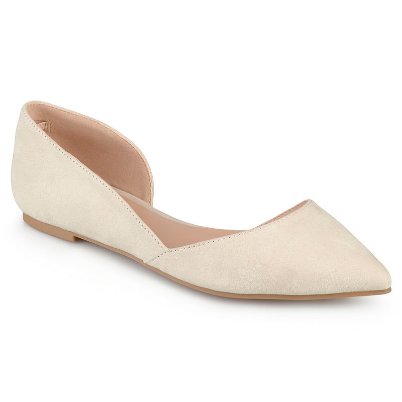 These Journee Collection Ester flats feature a pointed-toe style with soft faux-suede uppers. The d\\\'Orsay silhouette is cut-close to the soles for a flattering appearance, while padded insoles create comfortable all-day wear.SHOE FEATURES D\\\'Orsay styling Inner elastic heel detail SHOE CONSTRUCTION Faux-suede upper Manmade lining Rubber outsole SHOE DETAILS Pointed toe Slip-on Padded footbed 0.27-in. heel  Size: Medium (12). Color: Natural. Gender: female. Age Group: kids. Pattern: Solid. Material: Synthetic.