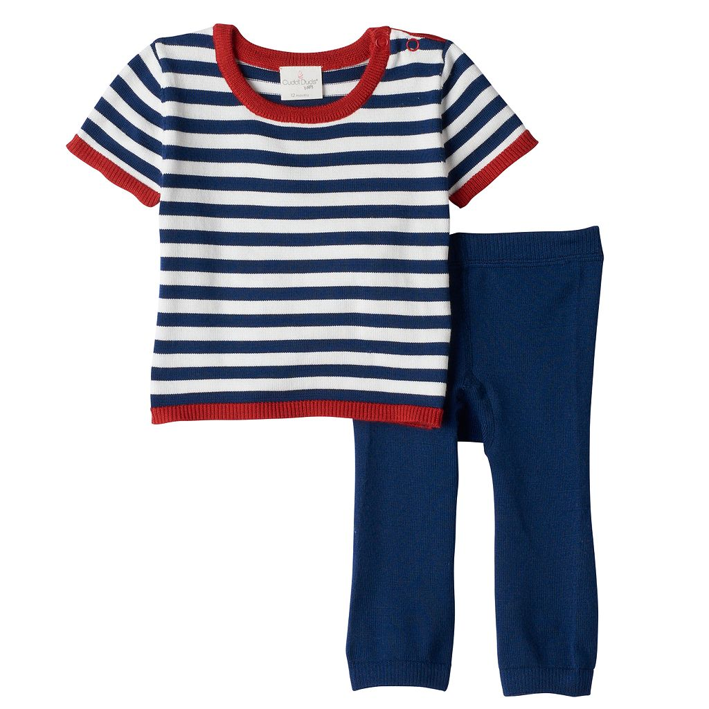 Baby Boy Cuddl Duds Striped Nautical Knit Top & Pants Set