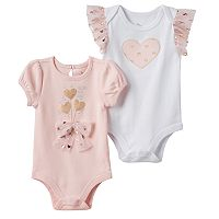 Baby Girl Baby Starters 2-pk. Foiled Graphic & Heart Applique Bodysuits