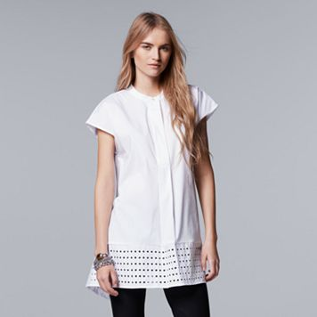 Petite Simply Vera Vera Wang Placed Eyelet High-Low Shirt