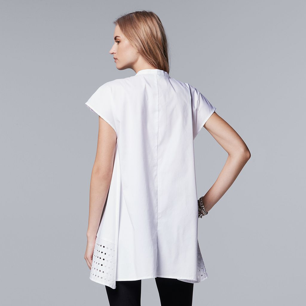 Petite Simply Vera Vera Wang Placed Eyelet High-Low Shirt