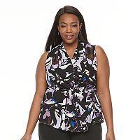 Plus Size Dana Buchman Tie-Front Crepe Top
