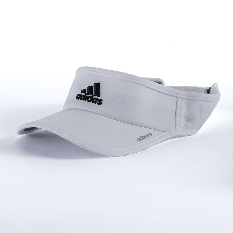 Men's Adidas adizero Visor, White Shade your eyes from the sun with this sporty men's Adidas visor. Ventilated climacool fabric keeps you cool and dry UPF 50+ protection Precurved bill Adjustable back strap FIT & Sizing One size fits most Fabric & Care Polyester, elastane Machine wash Imported Size: Onesize. Color: White. Gender: Male. Age Group: Adult.