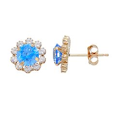 Gold 'N' Ice 10k Gold Cubic Zirconia Flower Stud Earrings