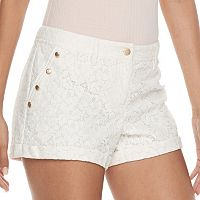 Juniors' Candie's® Button Accent Lace Shortie Shorts