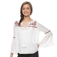 Disney Pirates of the Caribbean: Juniors Collection Embroidered Peasant Top