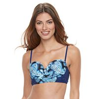 Women's Breaking Waves Push-Up Paisley Bikini Top