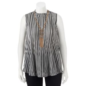 Juniors' Plus Size HeartSoul Striped Necklace Top