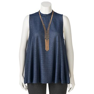 Juniors' Plus Size HeartSoul Necklace Mockneck Swing Top