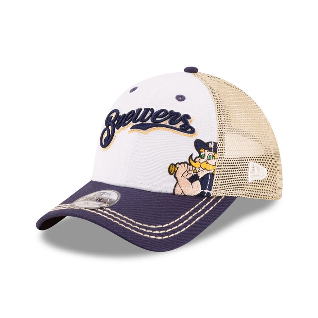 Youth New Era Milwaukee Brewers Logo Play 9FORTY Adjustable Cap