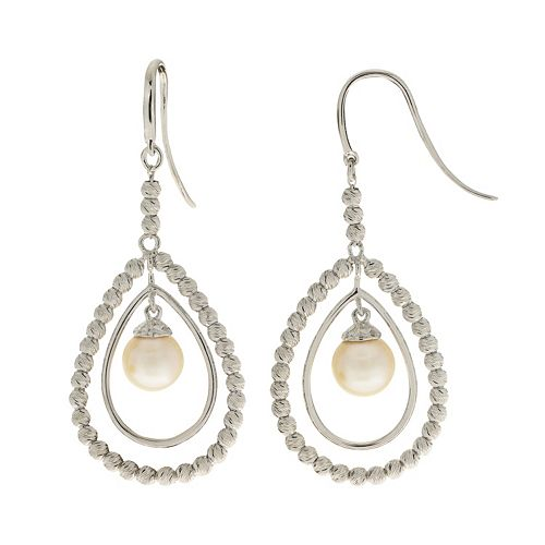 PearLustre by Imperial Sterling Silver Freshwater Cultured Pearl Teardrop Earrings