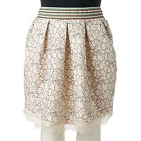 Juniors' Plus Size HeartSoul Pleated Lace Skater Skirt