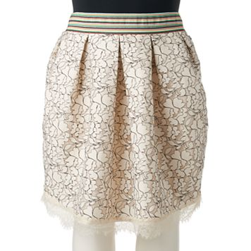 Juniors' Plus Size HeartSoul Pleated Lace Skater Skirt