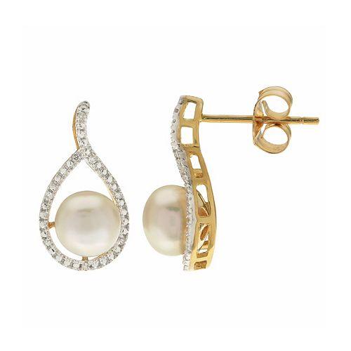 PearLustre by Imperial 14k Gold Freshwater Cultured Pearl & Diamond Accent Teardrop Earrings