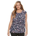 Plus Size Dana Buchman Printed Pleated Top