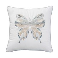 Shell Rummel Sea Glass Butterfly Mosaic Throw Pillow