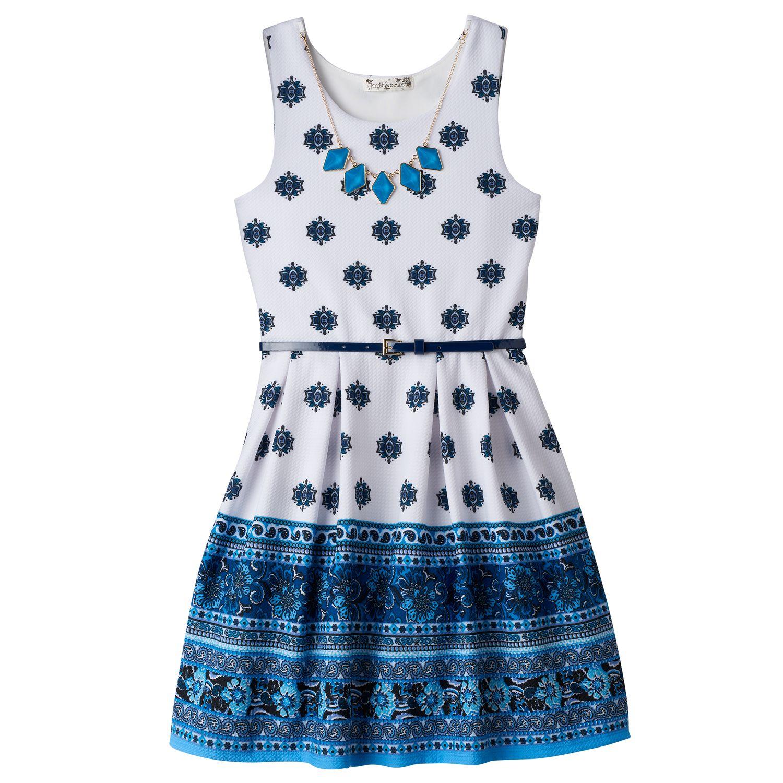 Aqua textured skater necklace dress