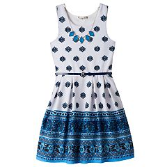 Girls 7-16 Knitworks Patterned Border Textured Skater Dress with Necklace