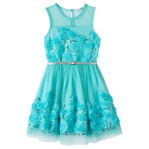 Girls 7-16 Knitworks Mint Floral Skater Dress