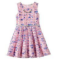 Girls 7-16 Knitworks Floral Burnout Stripe Skater Dress