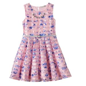 Girls 7-16 Knitworks Floral Burnout Stripe Skater Dress