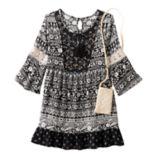 Girls 7-16 Knitworks Lace Trim Patterned Babydoll Dress with Crochet Crossbody Purse