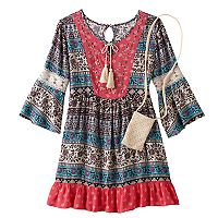Girls 7-16 Knitworks Lace Trim Patterned Babydoll Dress with Crochet Crossbody Purse