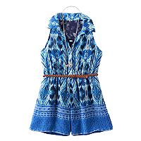 Girls 7-16 Knitworks Lace Back Patterned Belted Romper with Necklace