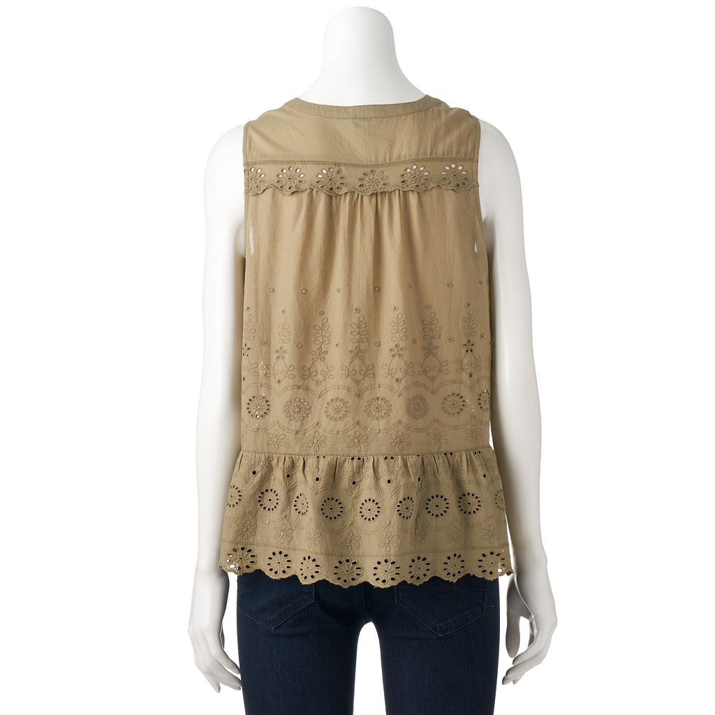Women's SONOMA Goods for Life™ Embroidered Eyelet Top