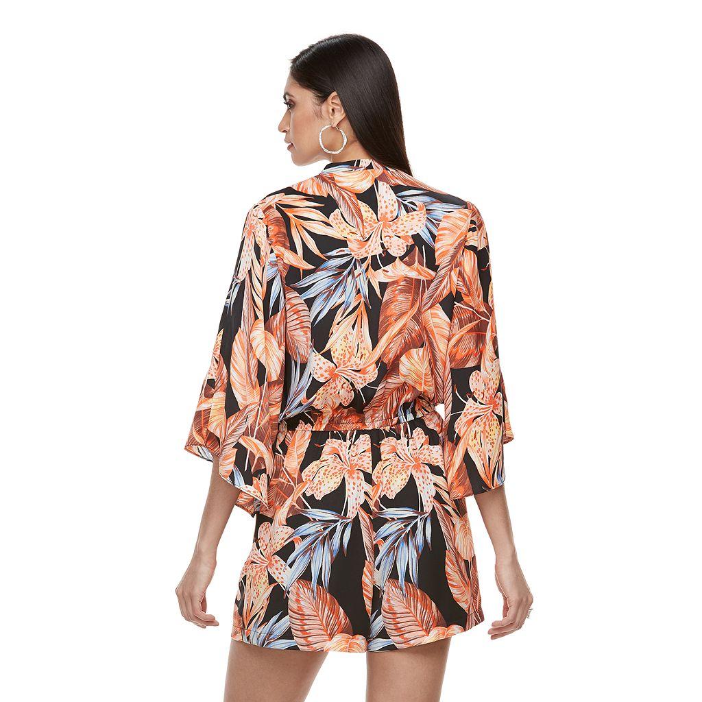 Women's Jennifer Lopez Print Faux-Wrap Romper