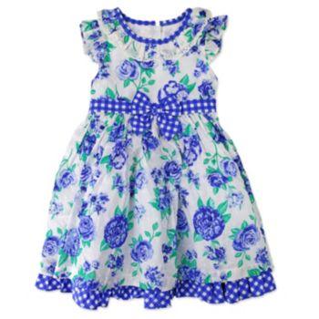 Girl's 4-6x Nannette Floral Swiss-Dot Dress